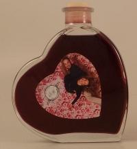 Fläschchen in Herzform 0,2 Liter mit Rotwein oder Rotweinlikör
